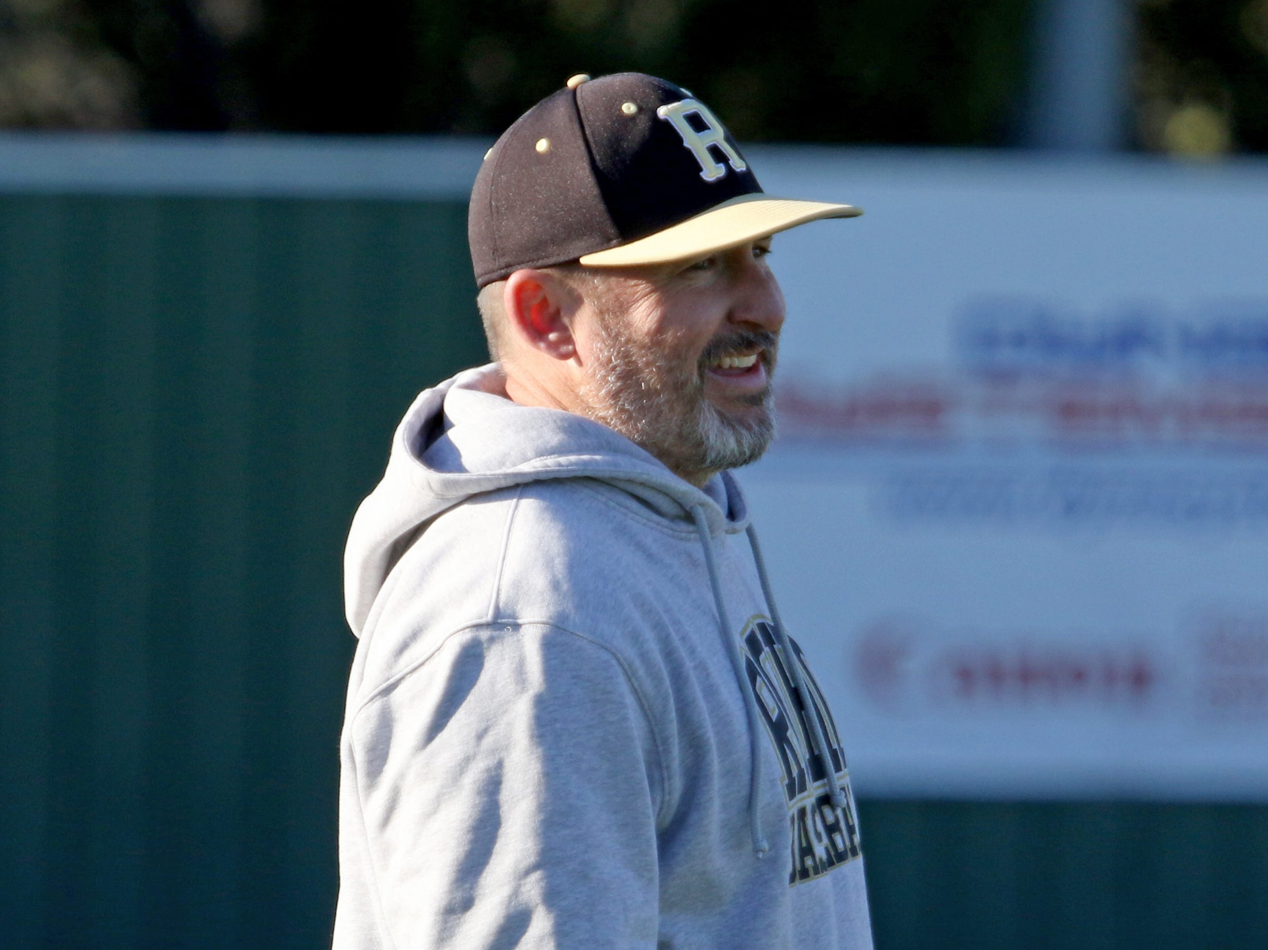 Rider head baseball coach Jeremy Crouch watches the game against Abilene Cooper Tuesday, March 5, 2019, at Hoskins Field.