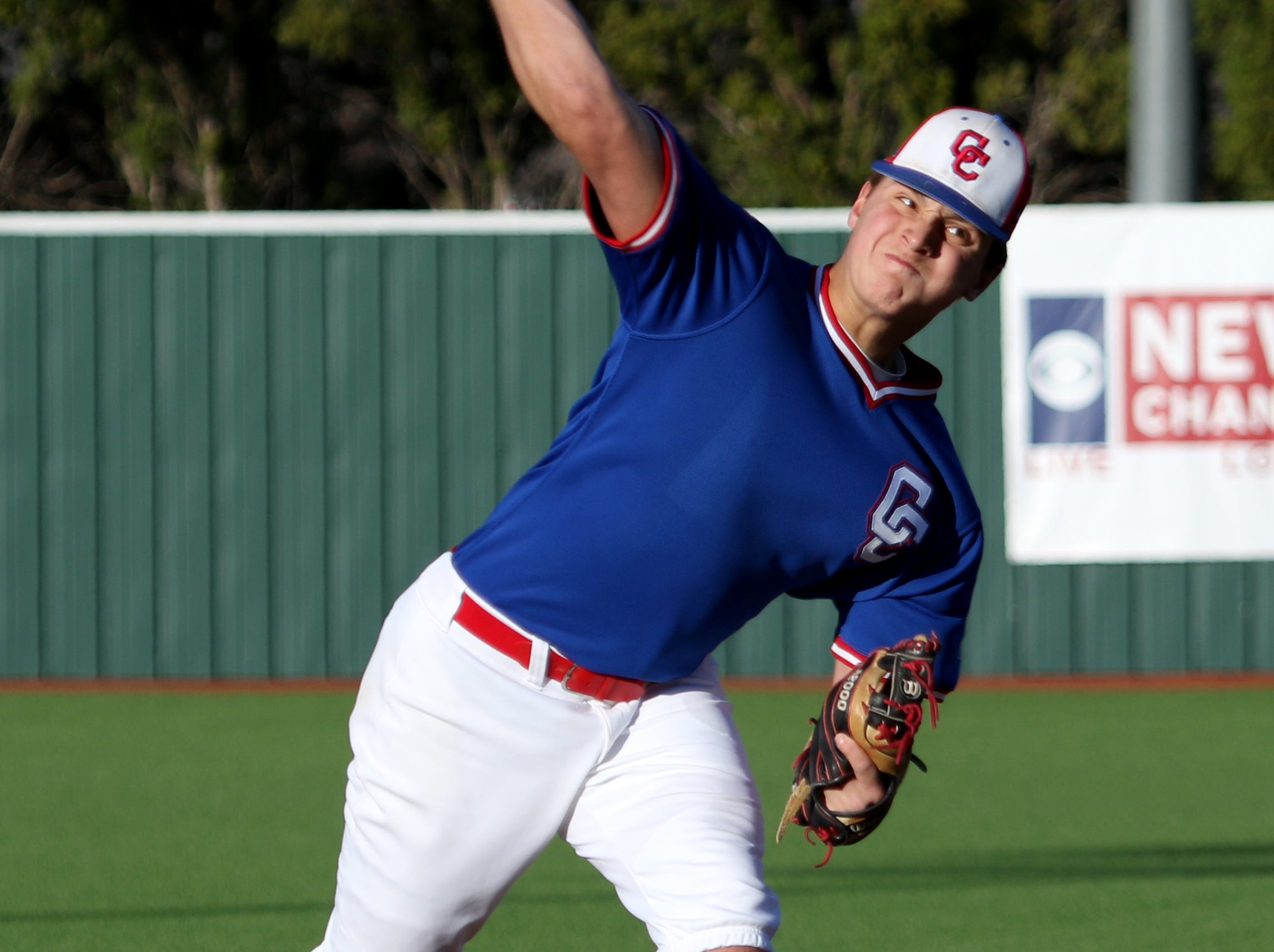 Abilene Cooper's Braiden Hill pitches against Rider Tuesday, March 5, 2019, at Hoskins Field.