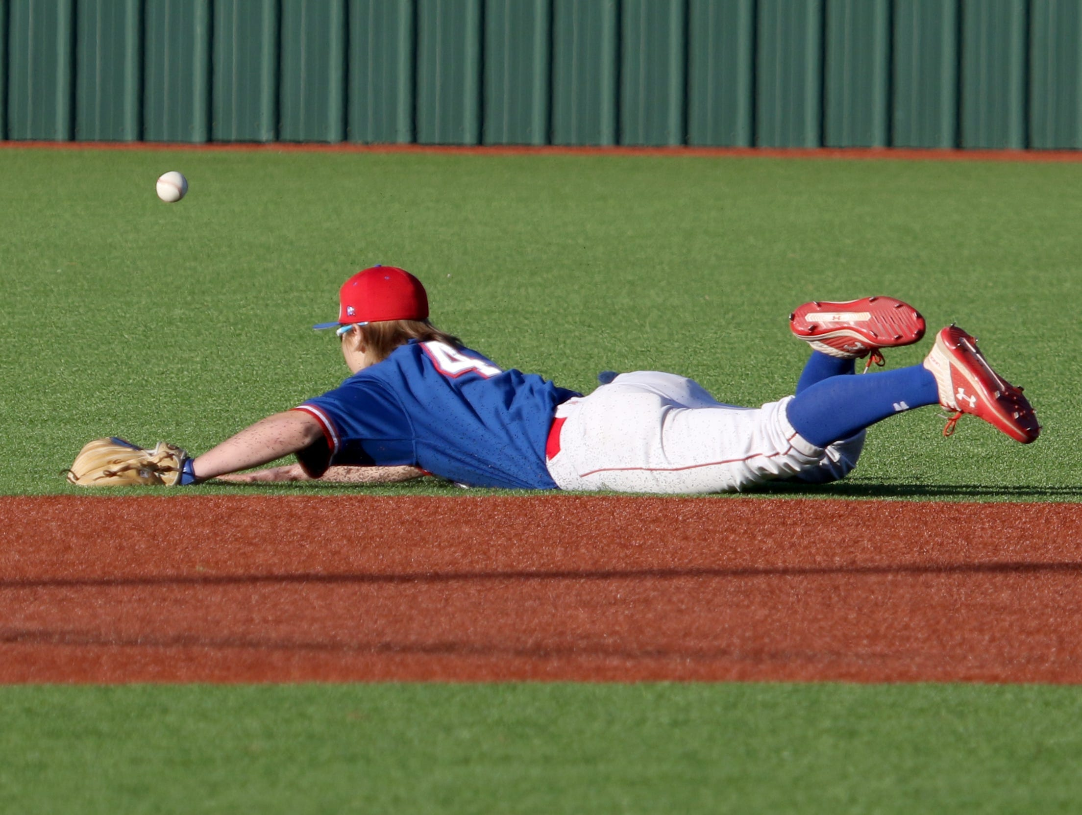 Abilene Cooper's Brody Stanford watches as the ball goes into the outfield in the game against Rider Tuesday, March 5, 2019, at Hoskins Field.
