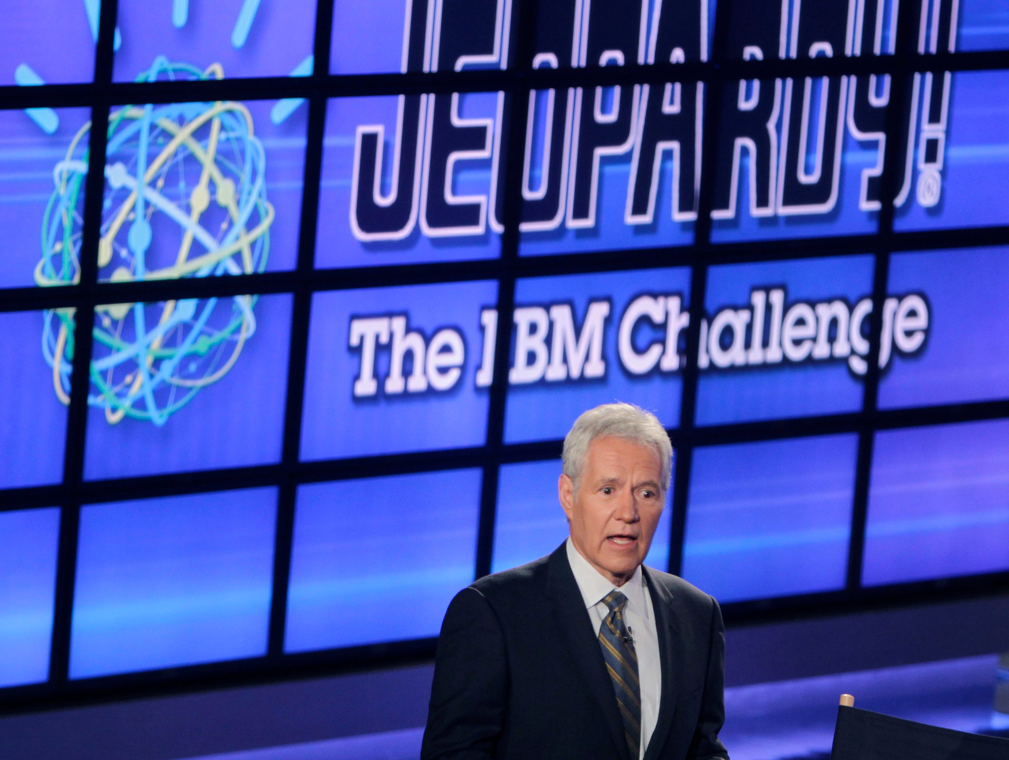 "In this Jan. 13, 2011, file photo, Alex Trebek, host of the ""Jeopardy!"" quiz show, speaks to an audience of primarily media about an upcoming ""Jeopardy!"" show featuring IBM's ""Watson"" in Yorktown Heights, N.Y."