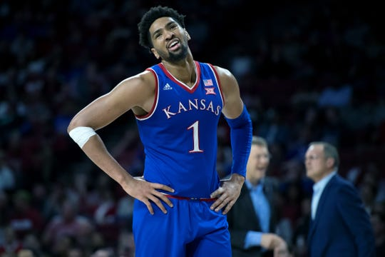 Kansas Jayhawks forward Dedric Lawson (1) reacts during the second half against the Oklahoma Sooners at Lloyd Noble Center.