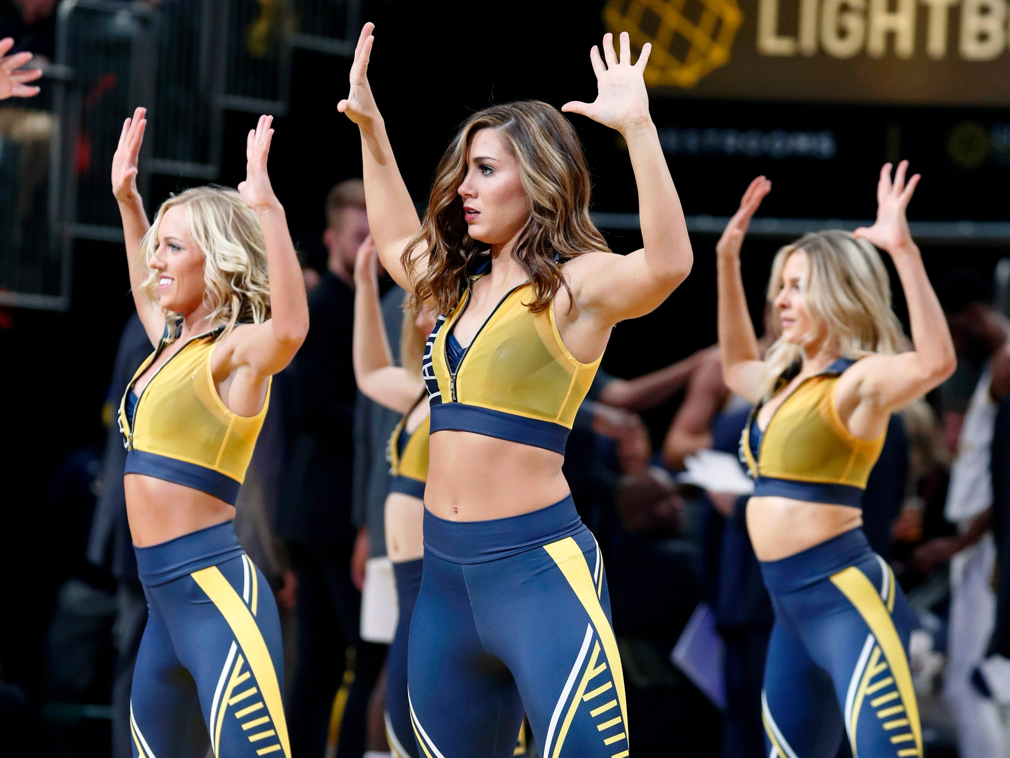 March 5: The Indiana Pacers Pacemates perform a dance routine during the game against the Chicago Bulls at Bankers Life Fieldhouse.