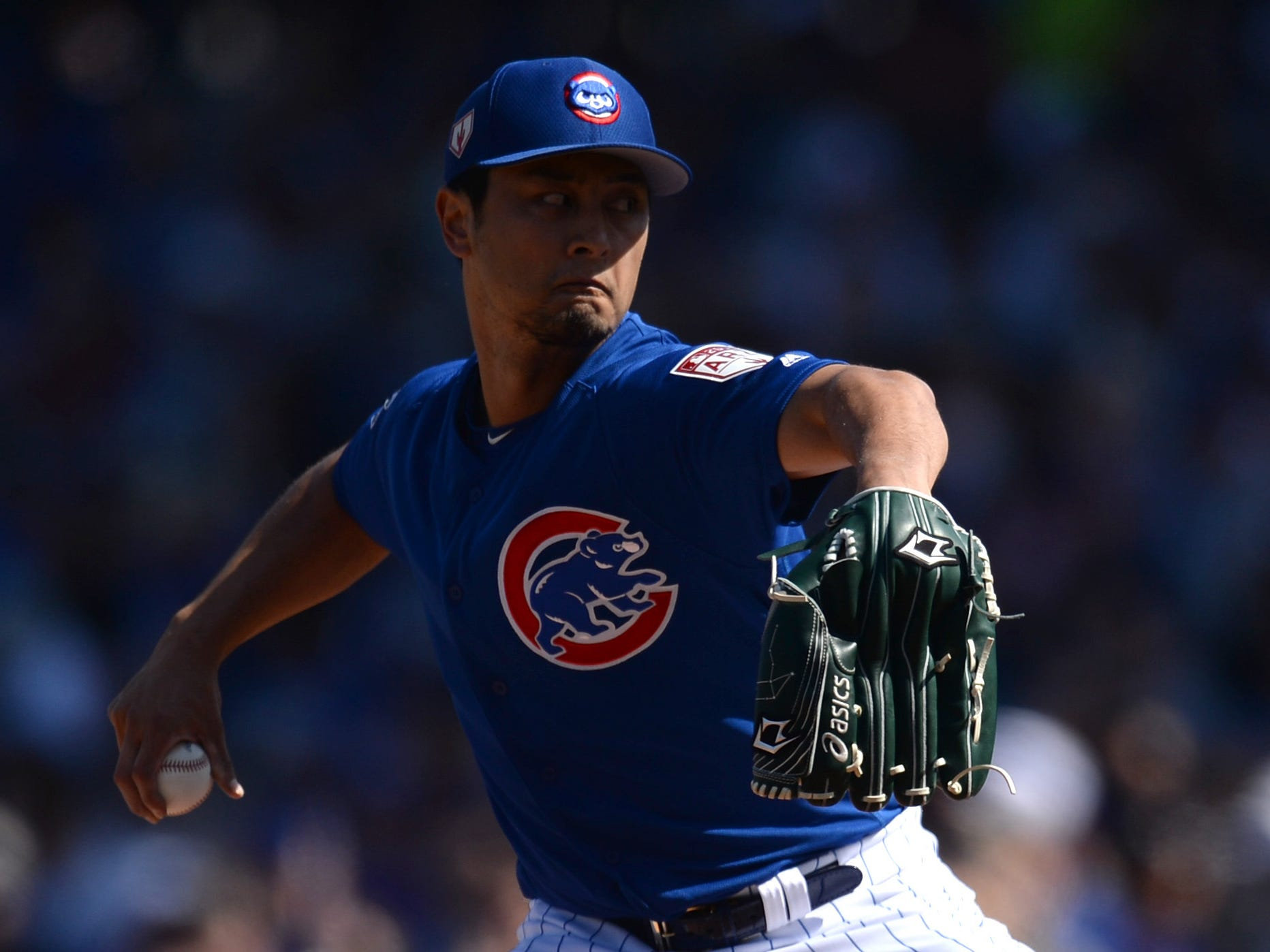 March 3: Cubs starting pitcher Yu Darvish throws a pitch.