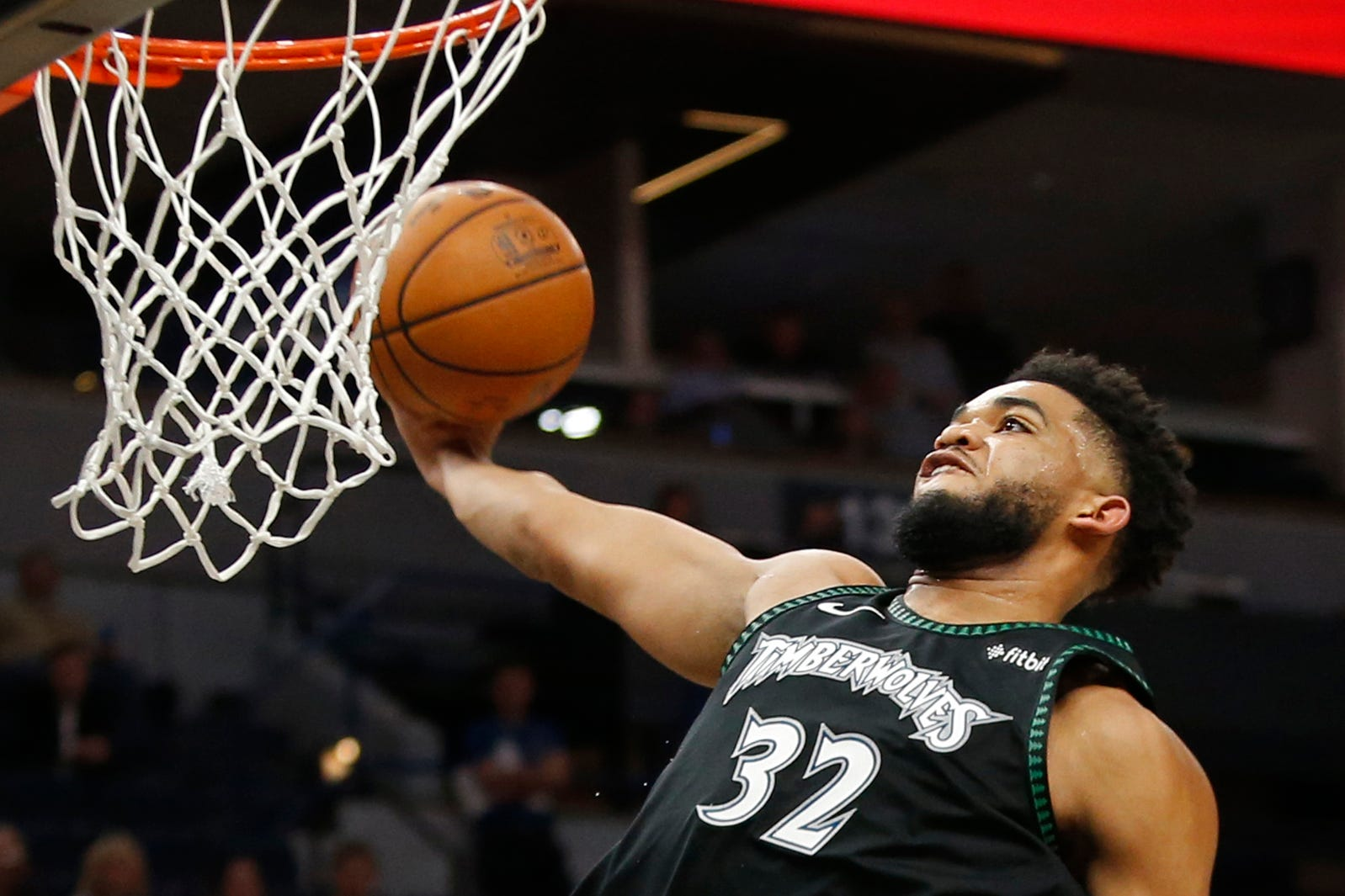 March 5: Minnesota Timberwolves forward Karl-Anthony Towns dunks against the Oklahoma City Thunder in the fourth quarter at Target Center. Bruce Kluckhohn, USA TODAY Sports