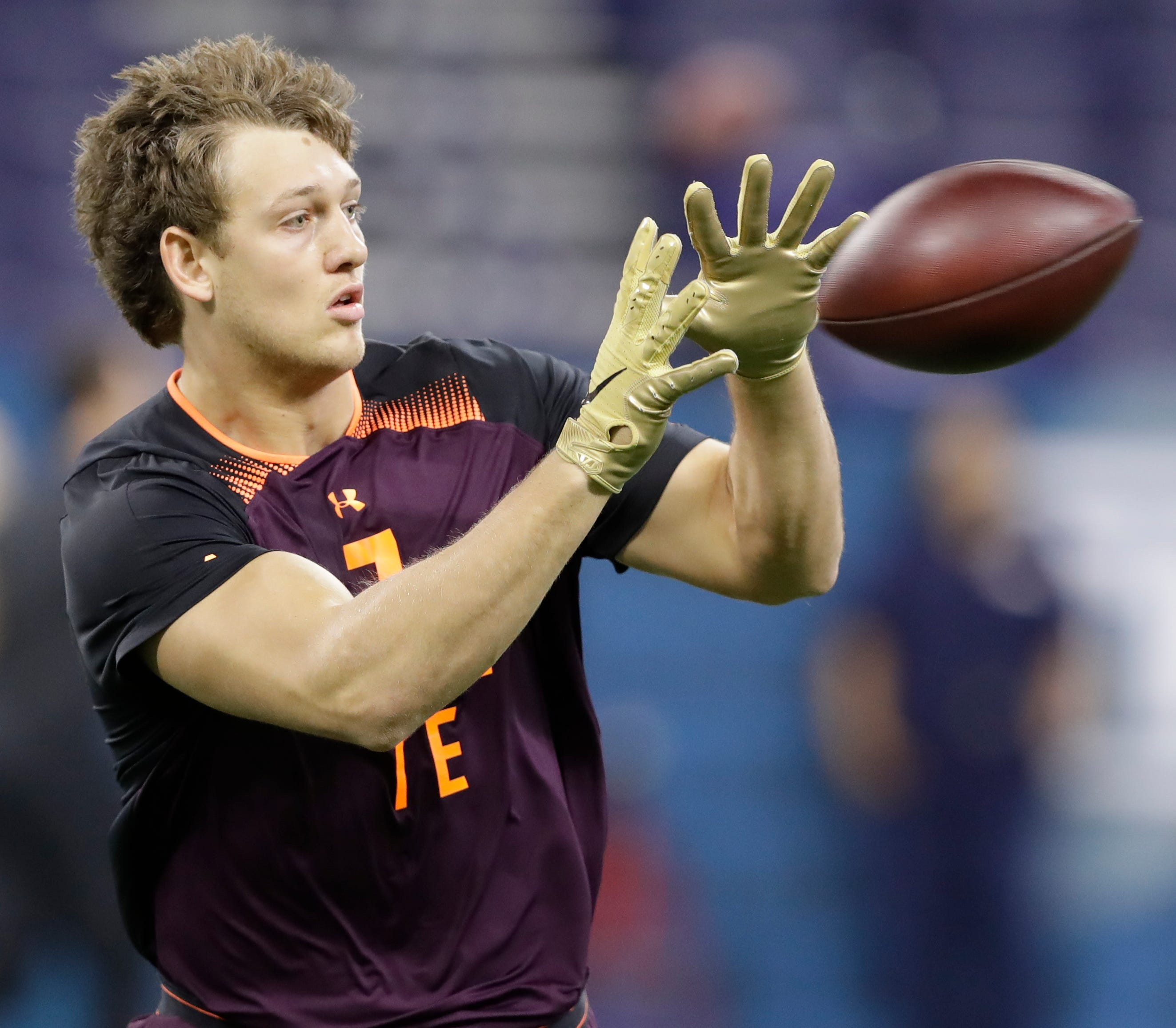 Former Iowa tight end T.J. Hockenson snares a pass during drills at the NFL Scouting Combine in Indianapolis on Saturday.