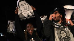 Black Lives Matter protesters march through the streets as they demonstrate the decision by Sacramento District Attorney to not charge the Sacramento police officers who shot and killed Stephon Clark last year on March 4, 2019 in Sacramento, Calif.