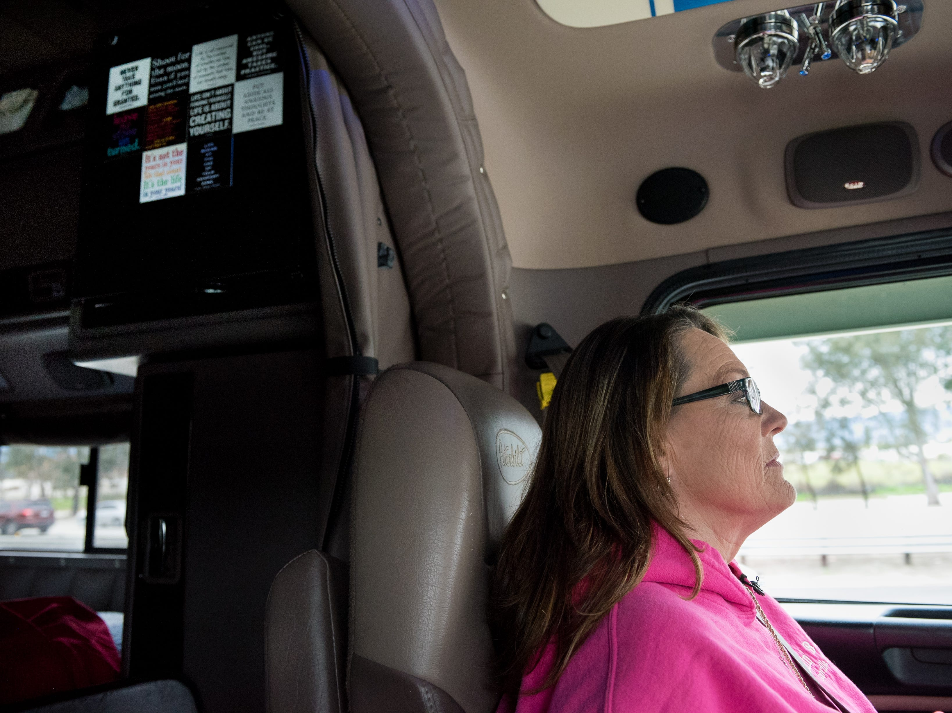 """Ingrid Brown drives """"Big Faith,"""" her big-rig, to Arizona to pick up pallets of produce which she'll haul to Massachusetts. """"My steering wheel has no clue what gender holds it,"""" says Brown."""