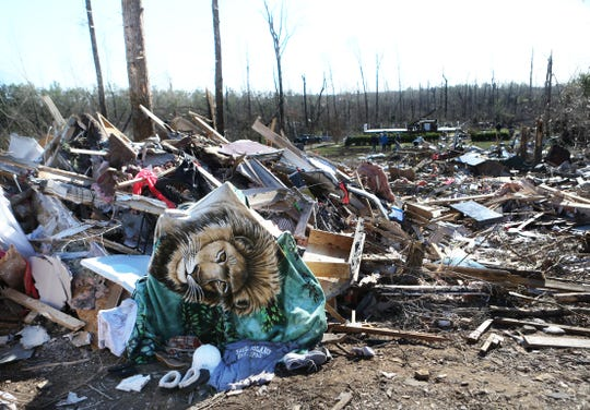Tornado damage in Lee County, Ala. on March 5, 2019.