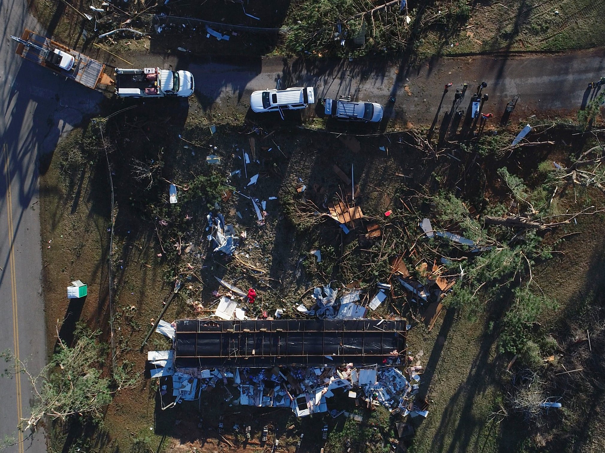 The remains of a tornado damaged home in Smiths Station, Ala. on March 5, 2019.