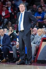 Kansas Jayhawks head coach Bill Self reacts during the game against the Oklahoma Sooners.