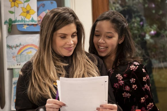 """Danielle Fishel and Ruth Righi on the set of """"Sydney to the Max."""""""