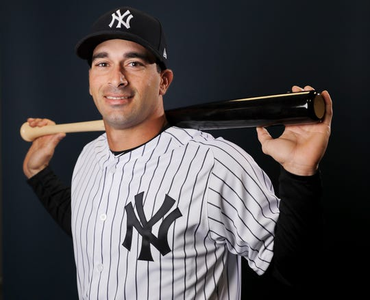 Jorge Saez, a minor leaguer in the Yankees organization, poses for a portrait during photo day.