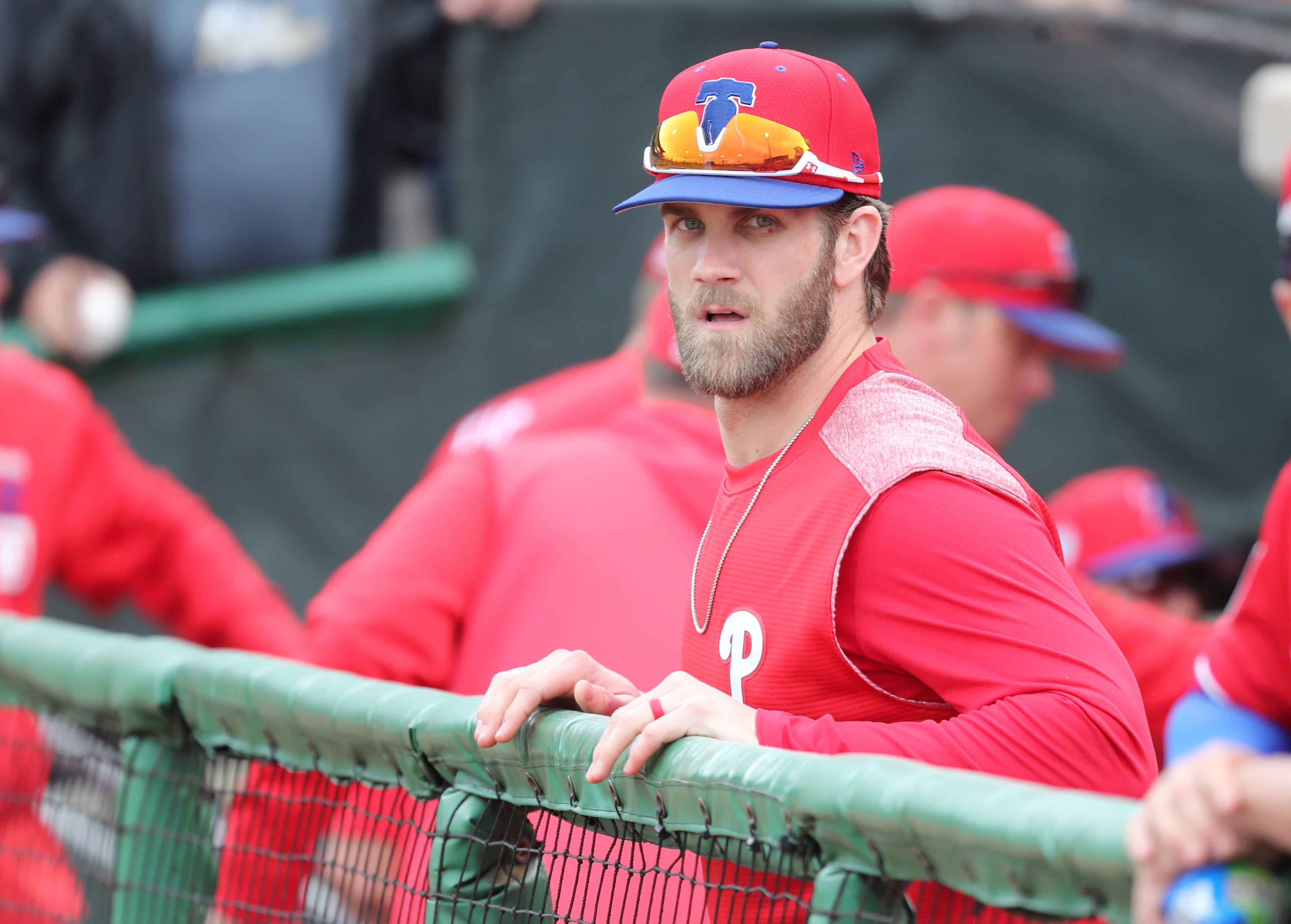 It's easier to get used to seeing Bryce Harper in a new uniform when it's the same colors as his old uniform.