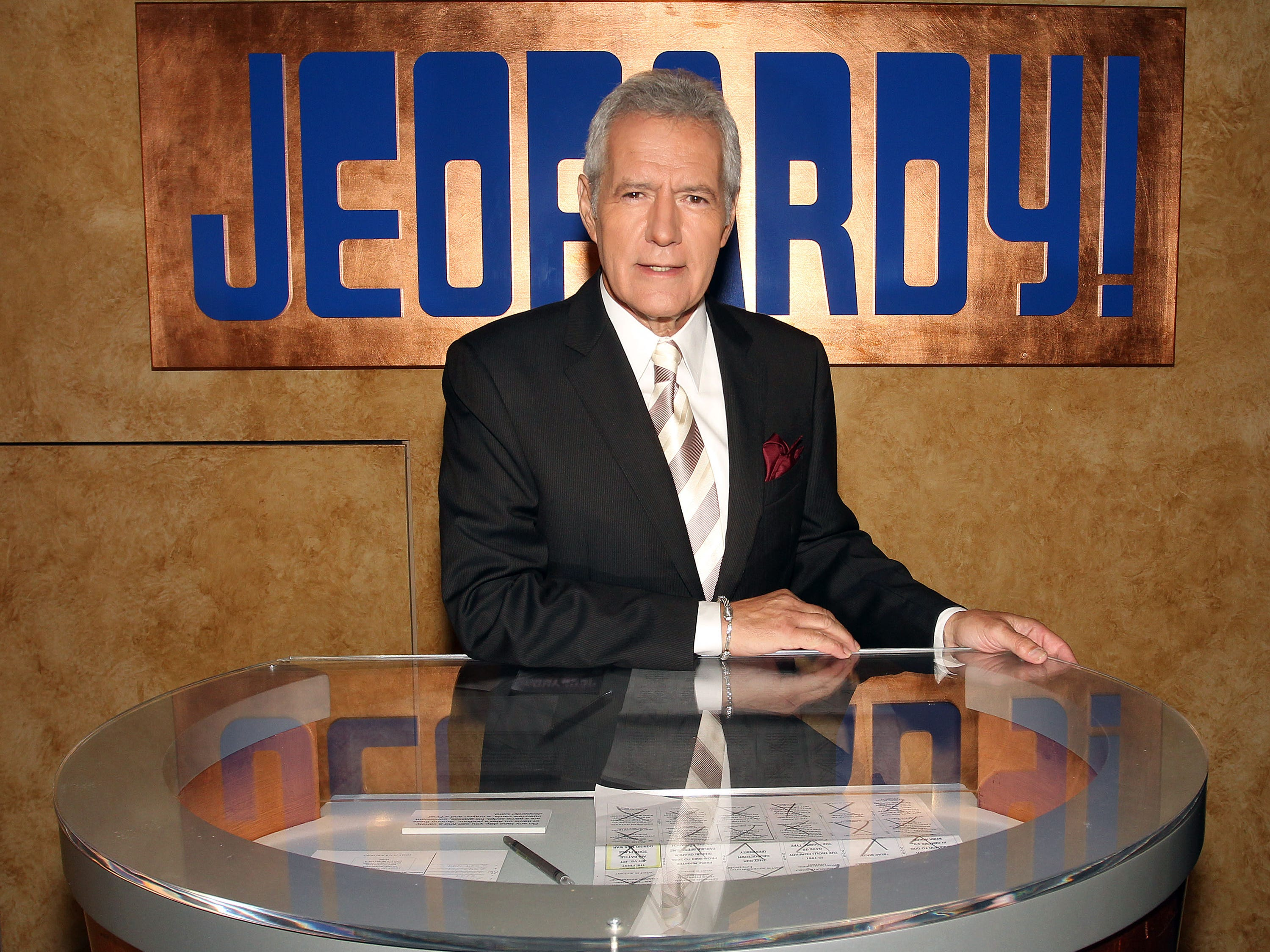 "Host Alex Trebek poses on the set at Sony Pictures for the 28th Season Premiere of the television show ""Jeopardy"" on Sept. 20, 2011 in Culver City, Calif."