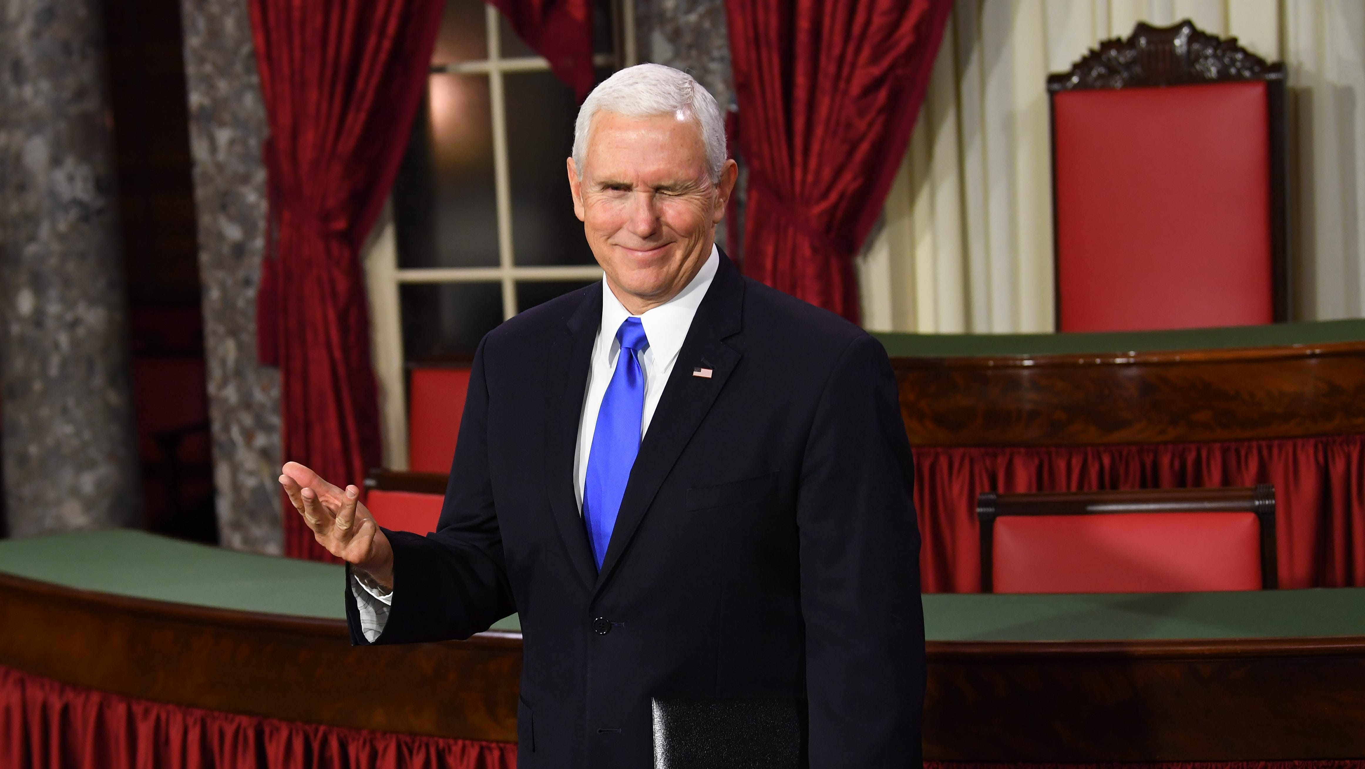 Vice President Mike Pence winks as he officiates ceremonial swearing-ins of Senators in the Old Senate Chambers at the U.S. Capitol on Jan. 3, 2019.