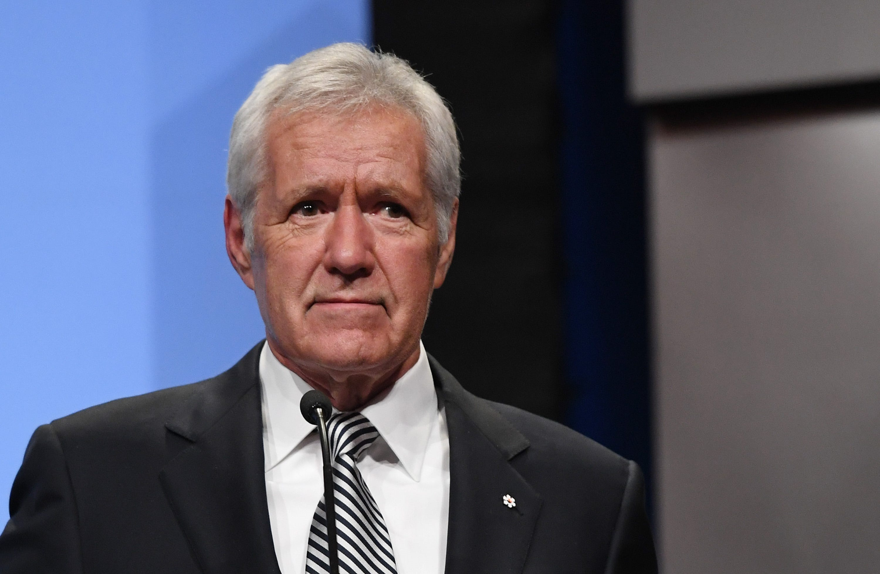 """Jeopardy!"" host Alex Trebek speaks as he is inducted into the National Association of Broadcasters Broadcasting Hall of Fame during the NAB Achievement in Broadcasting Dinner at the Encore Las Vegas on April 9, 2018 in Las Vegas, Nevada. ""Jeopardy!"" host Alex Trebek announced March 6, 2019 that he has been diagnosed with stage 4 pancreatic cancer."