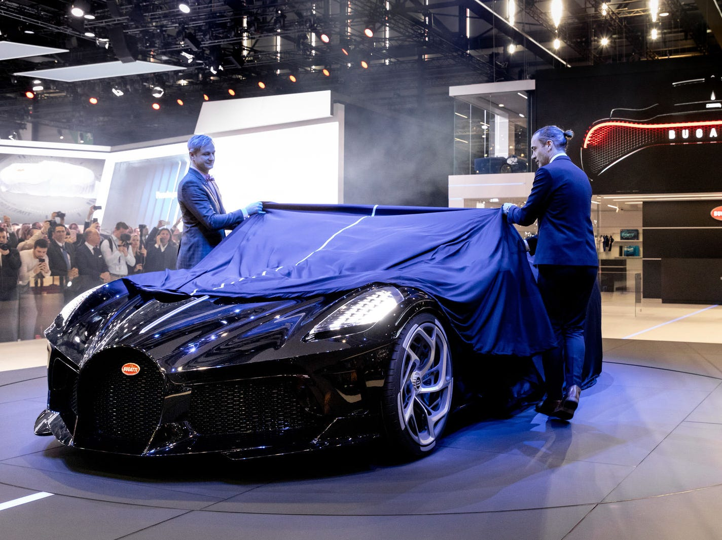 """At the first major international motor show in 2019, Bugatti unveiled the the hyper sports car """"La Voiture Noire."""""""