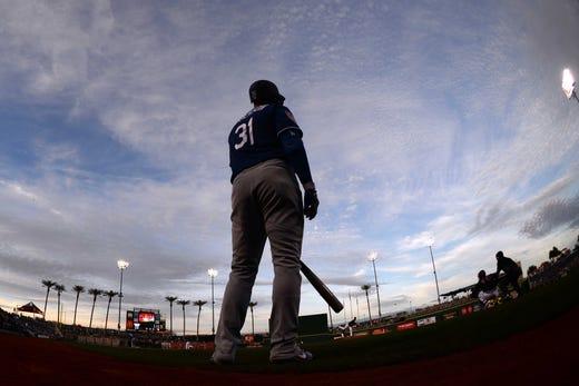 March 1: Dodgers left fielder Joc Pederson waits on deck against the Indians.
