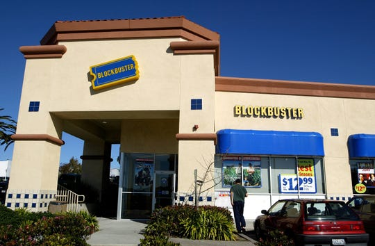 The exterior of a Blockbuster video rental store is seen February 10, 2004 in San Francisco. Soon there will be only one Blockbuster location left in the world, a store in Bend, Oregon.