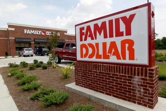 FILE - This Aug. 19, 2014 photo shows the Family Dollar store in Ridgeland, Miss. Dollar Tree is closing up to 390 Family Dollar stores this year and rebranding about 200 others under the Dollar Tree name. The company closed 84 Family Dollar stores in the fourth quarter, 37 more than originally planned. (AP Photo/Rogelio V. Solis, File) ORG XMIT: NYBZ303