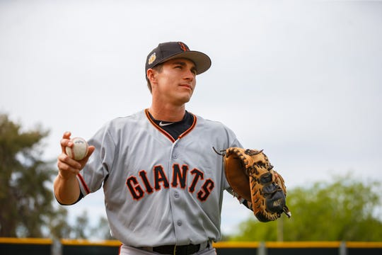 "Francisco Giants minor league player Matt Pare aka ""The Homeless Minor Leaguer"" during spring training practice as the teams training facility."
