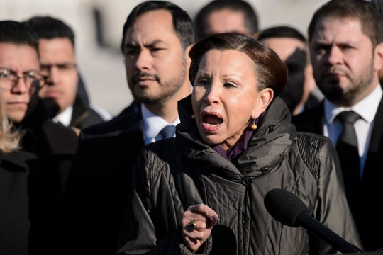 Rep. Nydia Velazquez, D-N.Y., and others participate in an event with DACA (Deferred Action for Childhood Arrivals), TPS (Temporary Protected Status), and DED (Deferred Enforced Departure) recipients on Capitol Hill in Washington, D.C., on March 6, 2019.