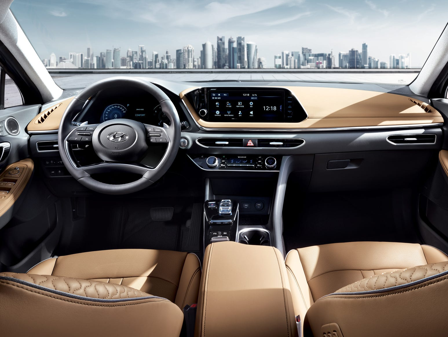 Inside, the Sonata has upscale features and and an elegant-looking dashboard sweep.