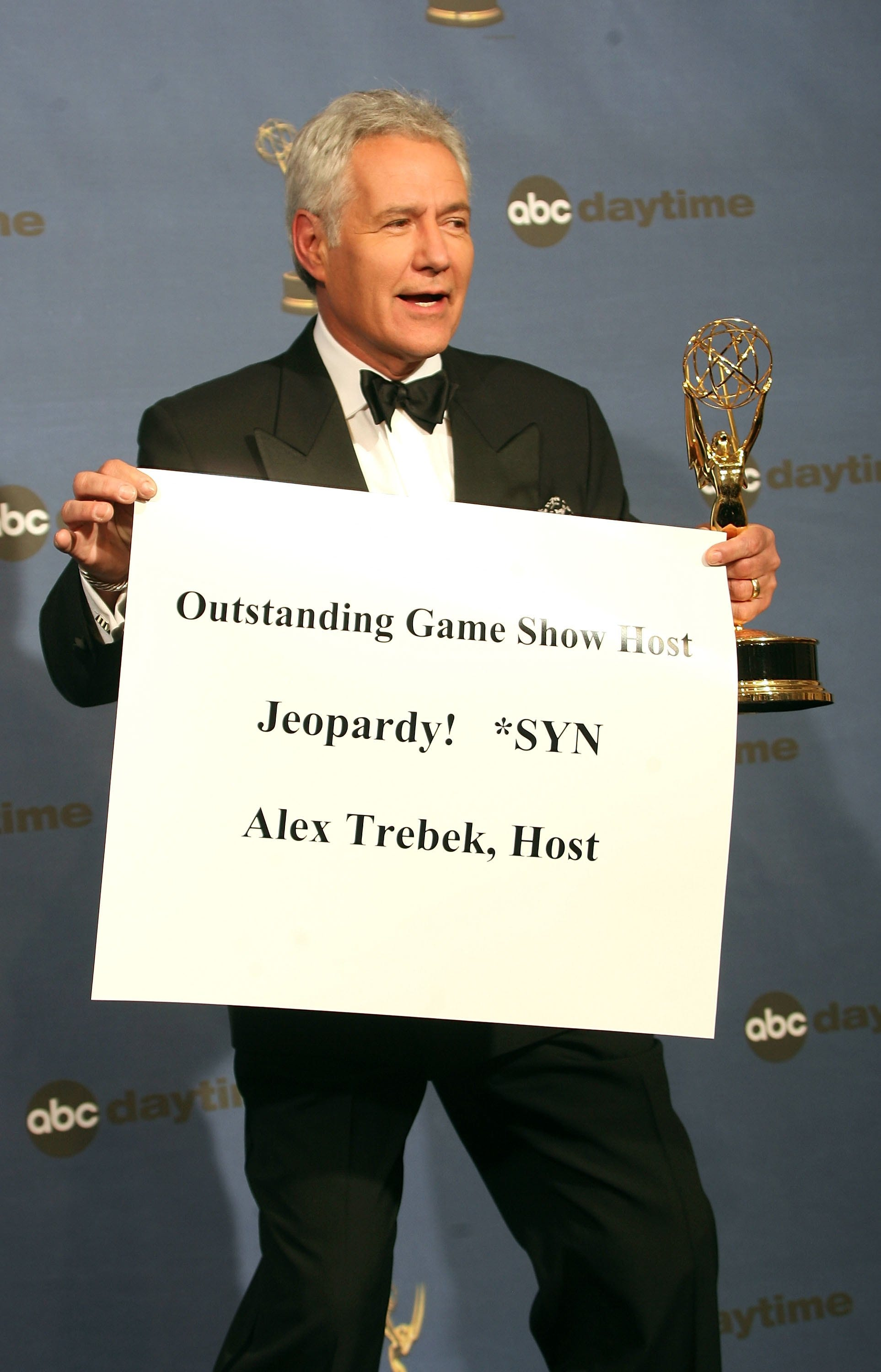 "Alex Trebek, winner of Outstanding Game Show Host for ""Jeopardy!"" poses in the press room at the 33rd Annual Daytime Emmy Awards held at the Kodak Theatre on April 28, 2006 in Hollywood, Calif."
