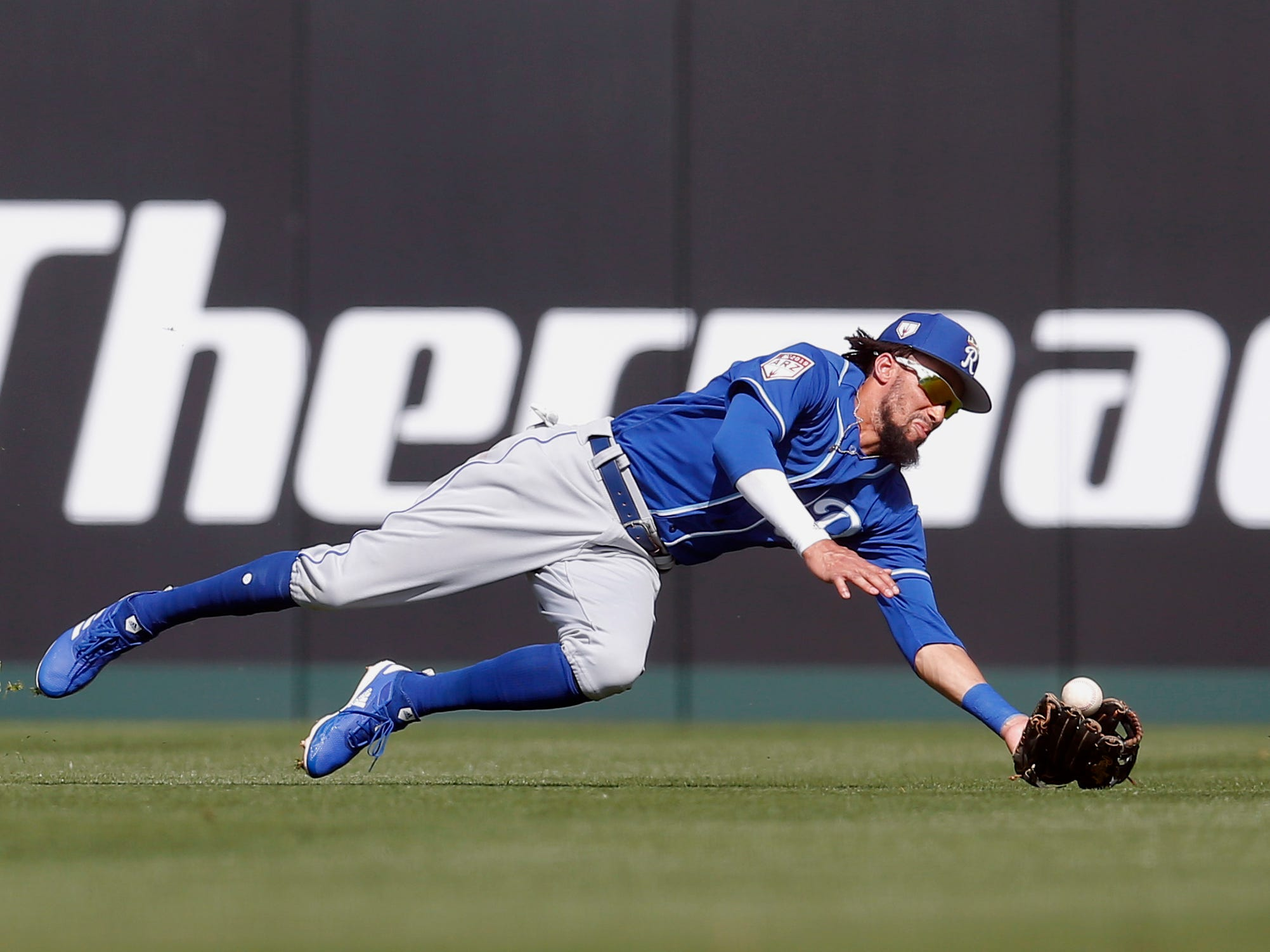March 1: Royals center fielder Billy Hamilton can't make the diving catch against the Angels.