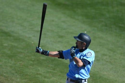 March 5: Mariners right fielder Ichiro Suzuki bats against the Padres a.