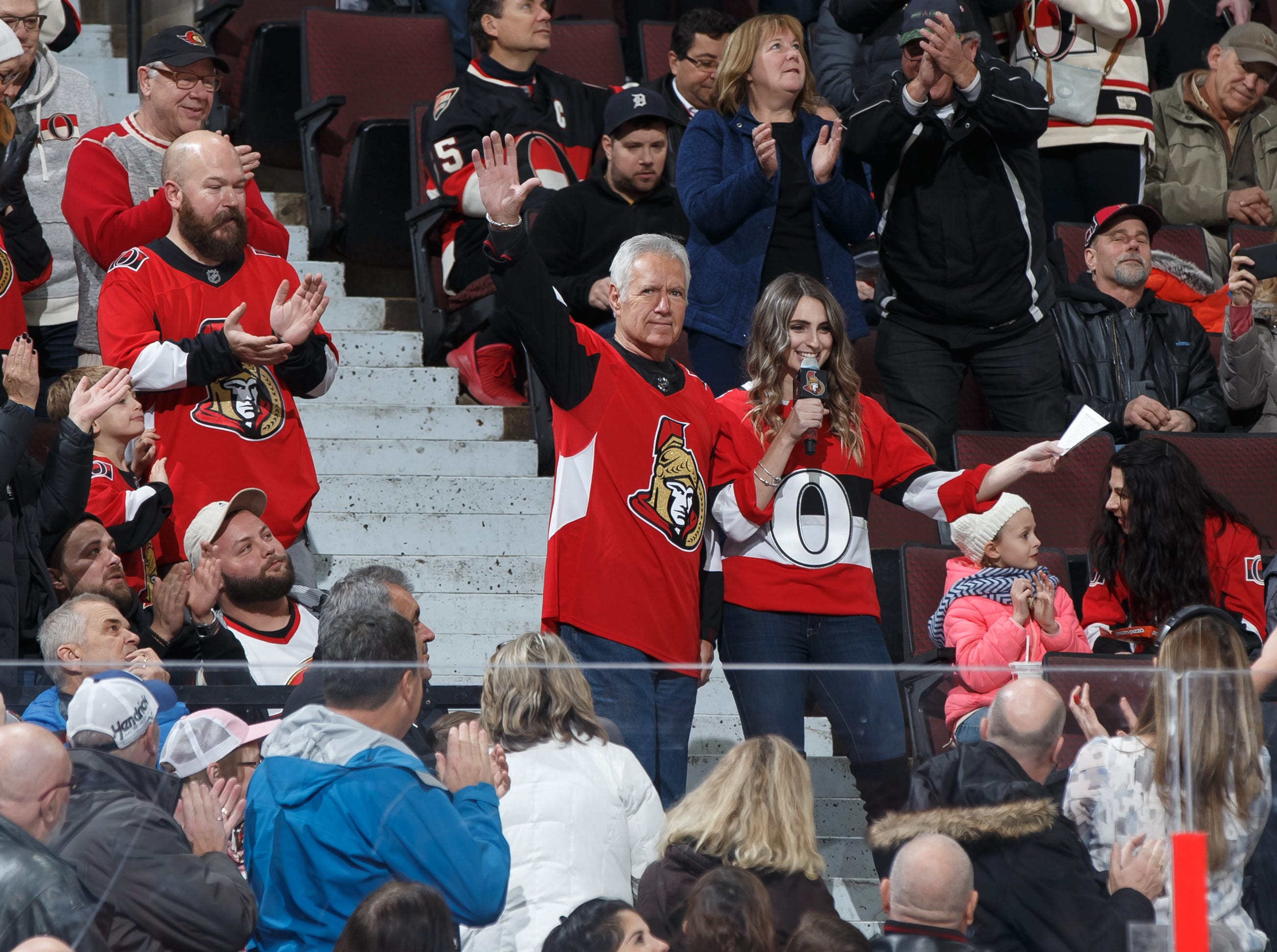 Alex Trebek is introduced during a stoppage in play in an NHL game between the Ottawa Senators and the Arizona Coyotes at Canadian Tire Centre on Nov. 18, 2017 in Ottawa, Ontario, Canada.