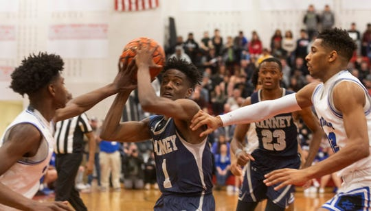 Ranneys Bryan Antoine runs into traffic as he drives to basket during closing minutes of regulation. Ranney School vs Wildwood Catholic in the 2019 NJSIAA Non-Public South B final at Jackson Liberty High School.