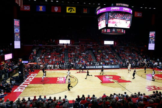 Rutgers Scarlet Knights and Penn State Nittany Lions during the first half at Rutgers Athletic Center
