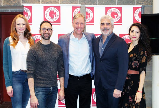 """Gretchen Hall (from left), Benjamin Pelteson, director Jim Jack, R. Ward Duffy, and Lauriel Friedman at George Street Playhouse, the cast and director of """"The Immigrant,"""" which is running from March 12 to April 7."""