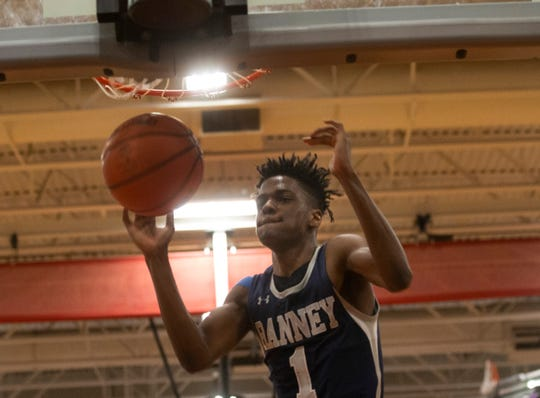 Ranney's Bryan Antoine puts in a last minute dunk to put the game into overtime. Ranney School vs Wildwood Catholic in the 2019 NJSIAA Non-Public South B final at Jackson Liberty High School.