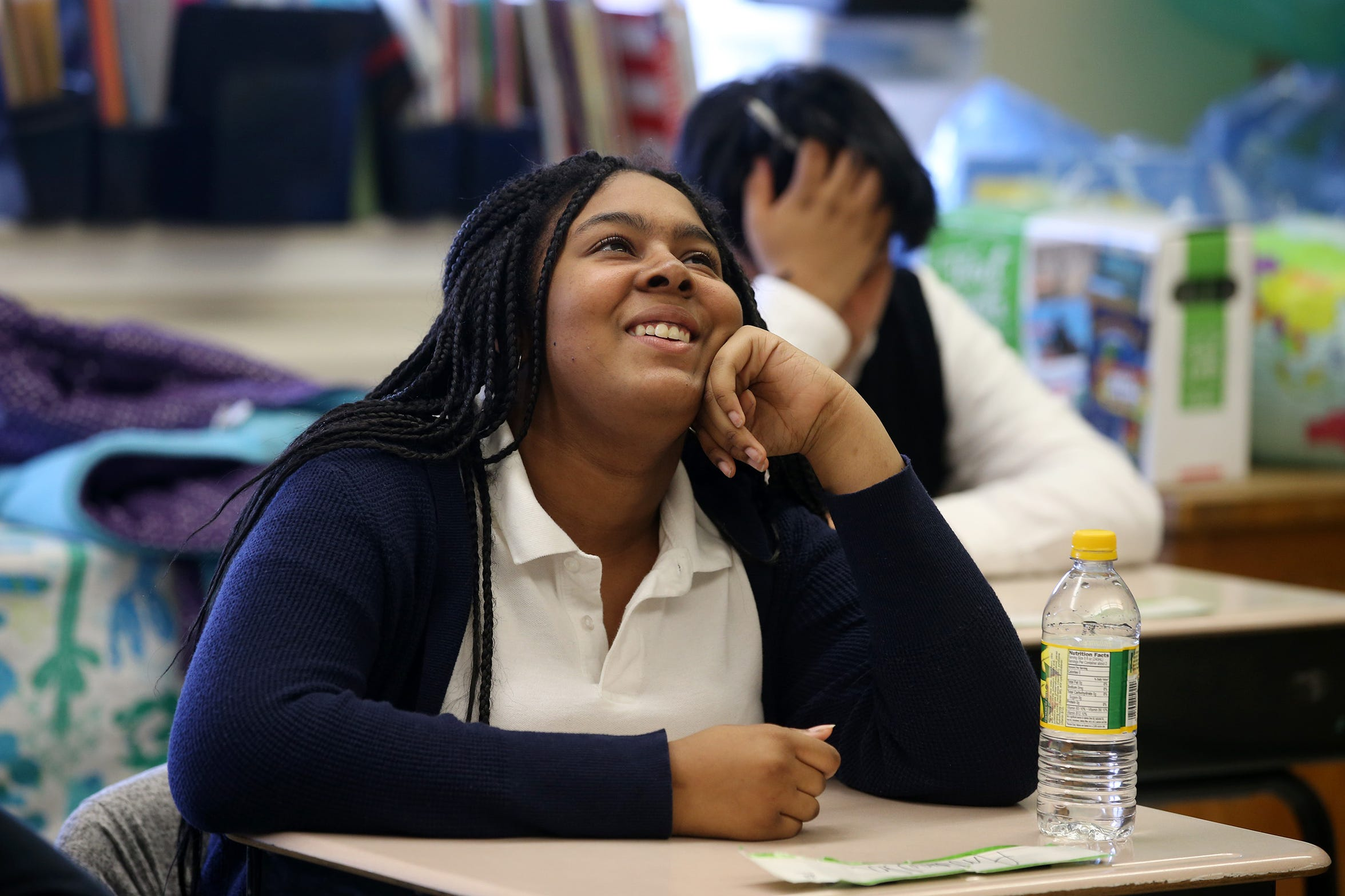 Tori Artis, 14, of Manchester talks about a recent school trip to Samsung in New York City at Our Lady of Mt. Carmel School in Asbury Park, NJ Thursday, March 7, 2019.