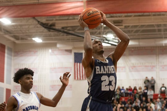 Ranney's Scottie Lewis dumps in some overtime points. Ranney School vs Wildwood Catholic in the 2019 NJSIAA Non-Public South B final at Jackson Liberty High School.