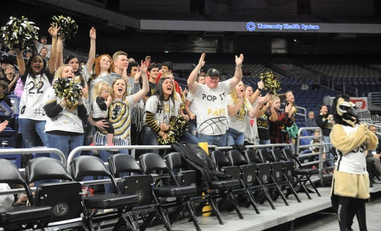 Jayton fans celebrate a 3-pointer in the first half of the Jaybirds' Class 1A semifinal win against Nazareth.