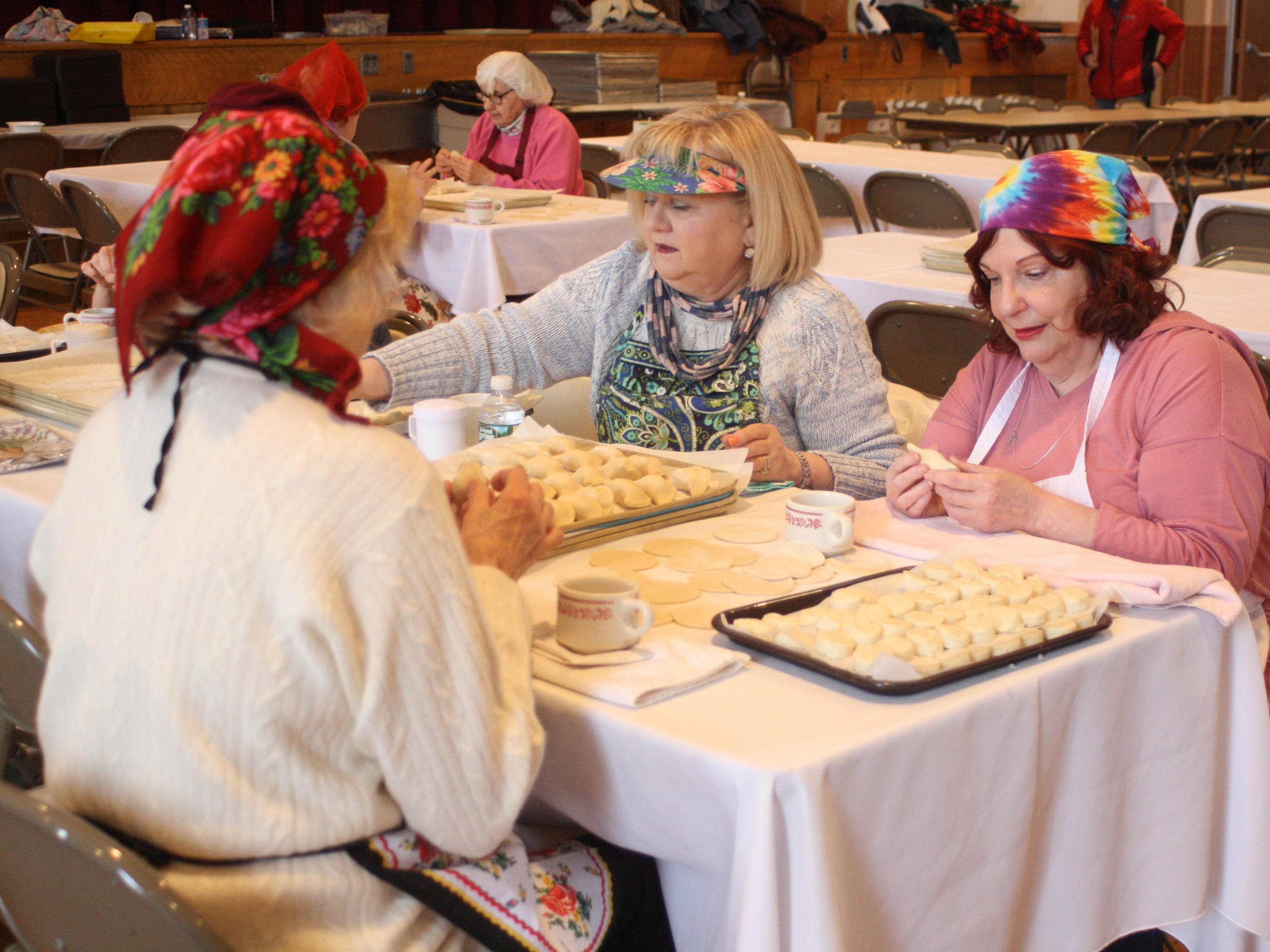 Volunteers prepared potato pirohis on March 7 at St. Michael's Church in Binghamton, the day before the first day of the church's 56th Annual Lenten Pirohi Sale.