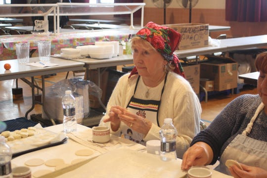 Marta Seketa, of Johnson City, has made pirohis at St. Michael's Church in Binghamton for 50 years.