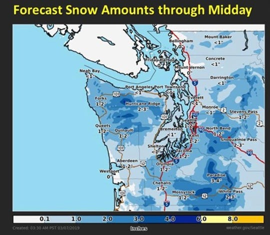 The National Weather Service is predicting less than 1 inch of snow accumulation for most of Kitsap County.