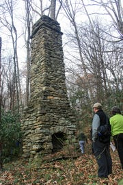 A chimney from the lodge of Col. John Kerr Connally, is one of many structures that remain from the time the Asheville Watershed was a thriving community in the North Fork Valley. A museum-led tour on March 30, will take participants to the east side of the restricted area.