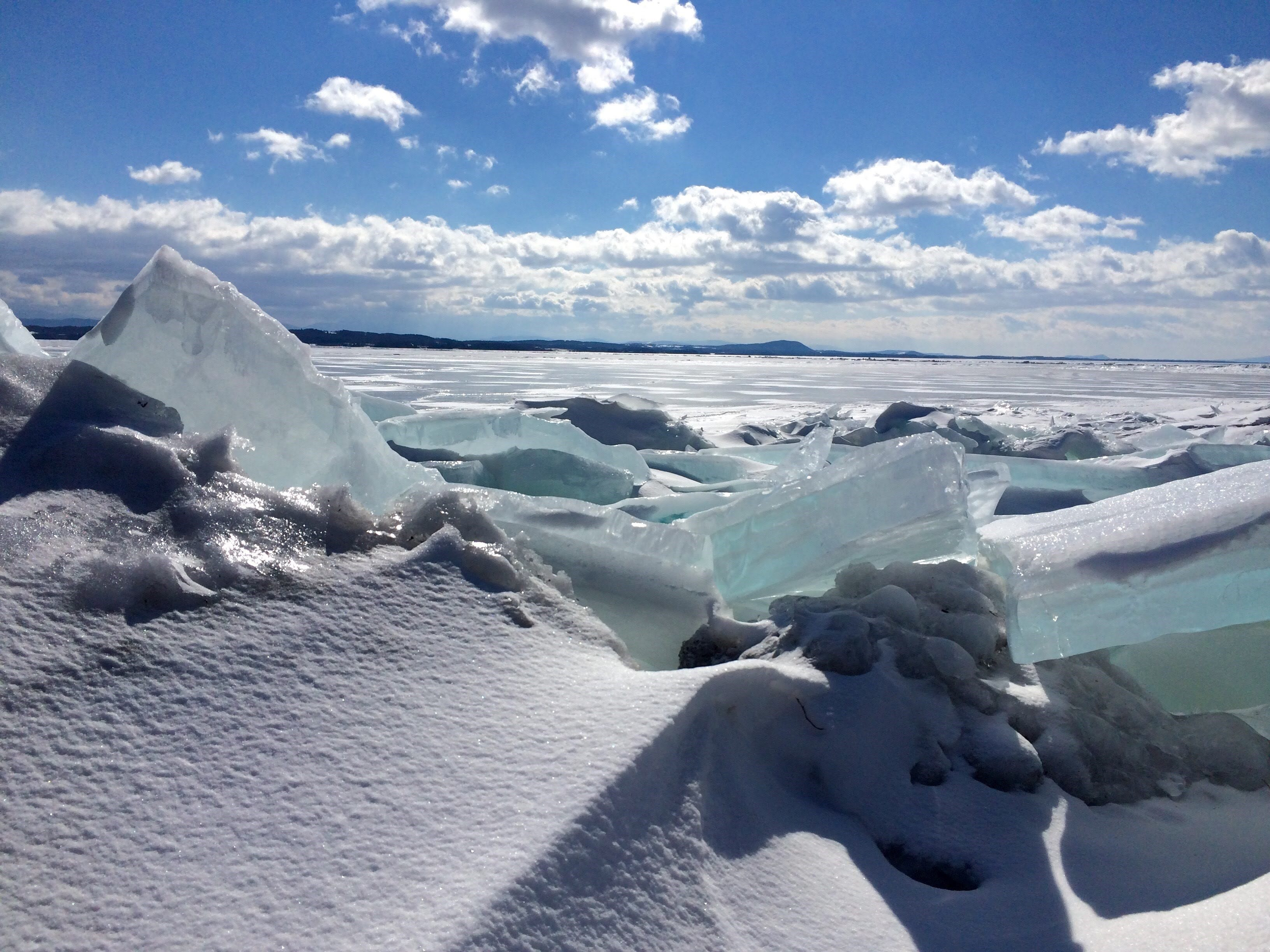 Blue-tinged ice chunks top an uplifted ridge on Lake Champlain in this undated photo.