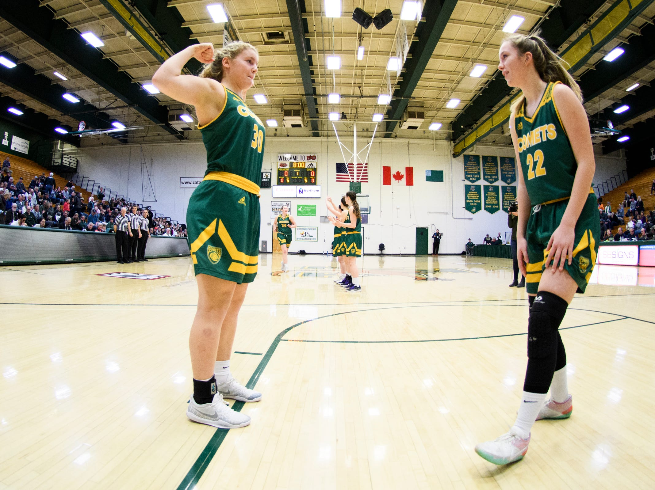 BFA's Kelly Laggis (30) takes the court during the girls semifinal basketball game between the BFA St. Albans Comets and the St. Johnsbury Hilltoppers at Patrick Gym on Wednesday night March 6, 2019 in Burlington, Vermont.