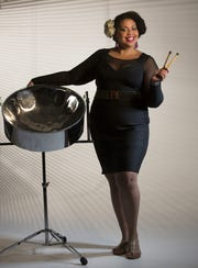 Vocalist and steel-drum player Becky Bass joins the Hinesburg Artist Series on March 24.