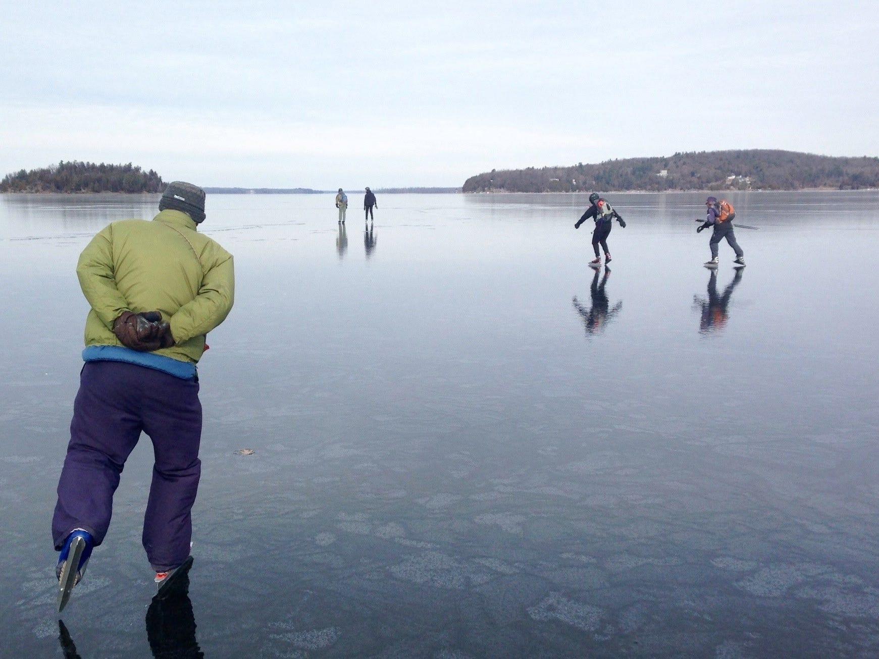 Nordic skaters glide across Malletts Bay in Lake Champlain in February 2016.