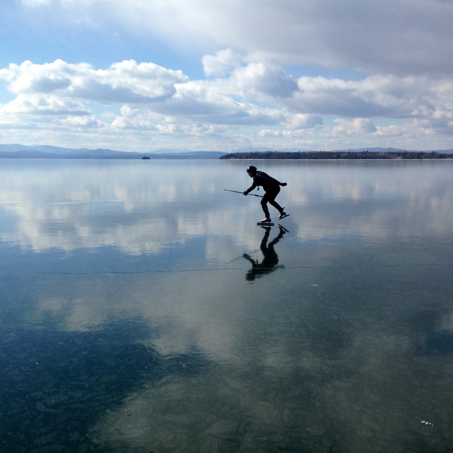 Like surfers hunting the biggest wave, skaters flock to a frozen Lake Champlain