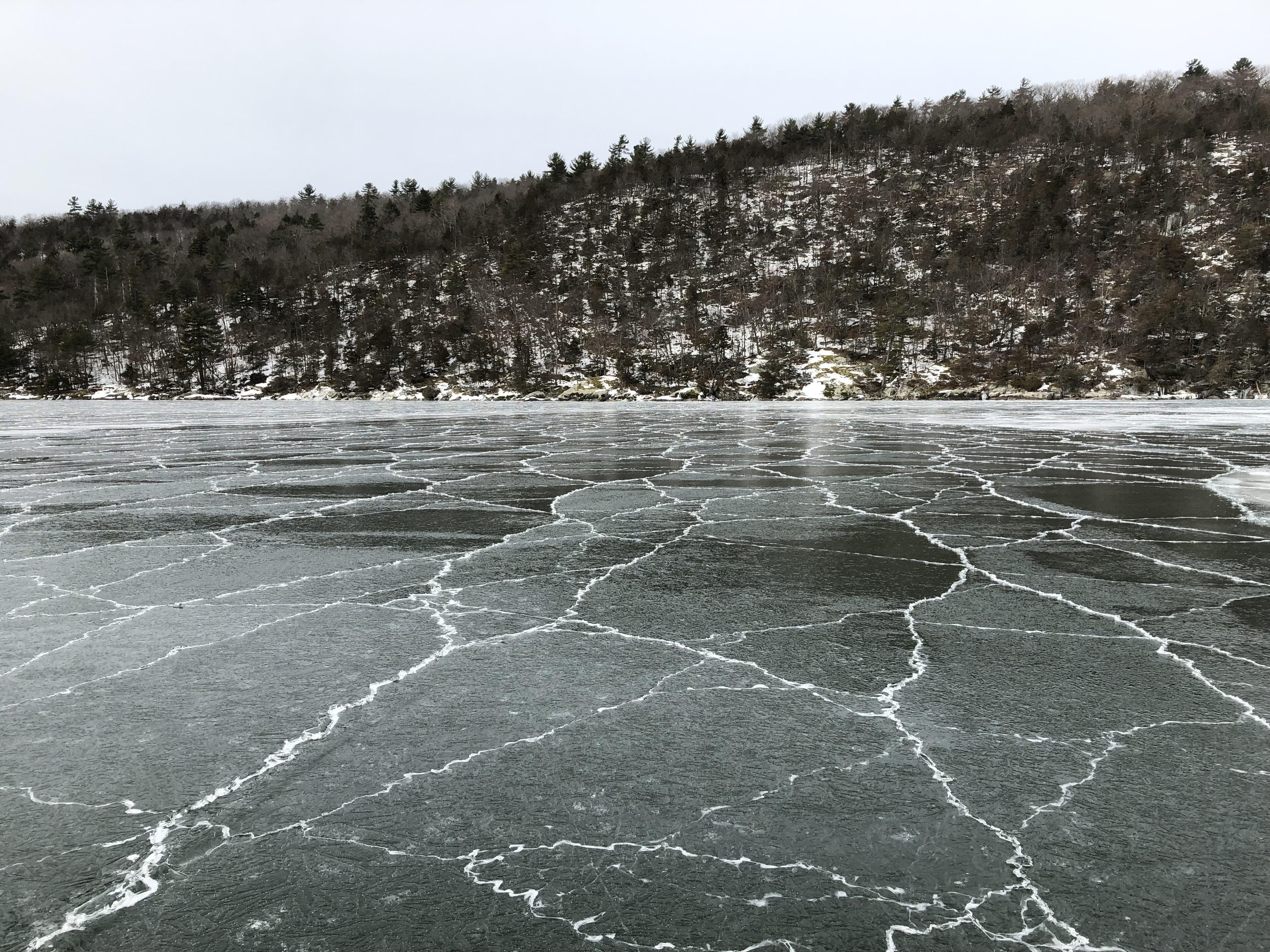 Fractured ice fringes a Lake Champlain shore in this undated photograph.
