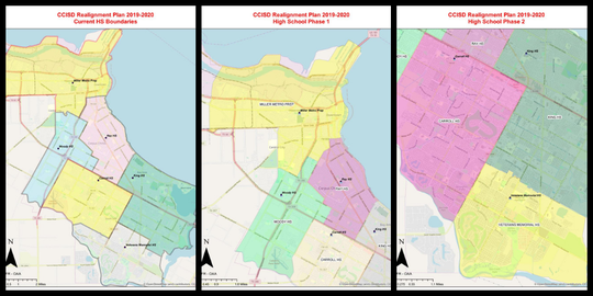 From left to right: current high school boundary lines, followed by one option up for consideration of a two-phase realignment process.