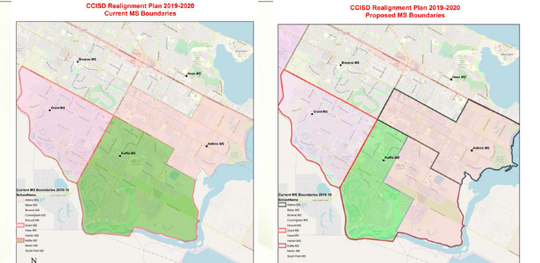 At left, CCISD's current middle school boundaries and on right, one proposed option for redistricting.